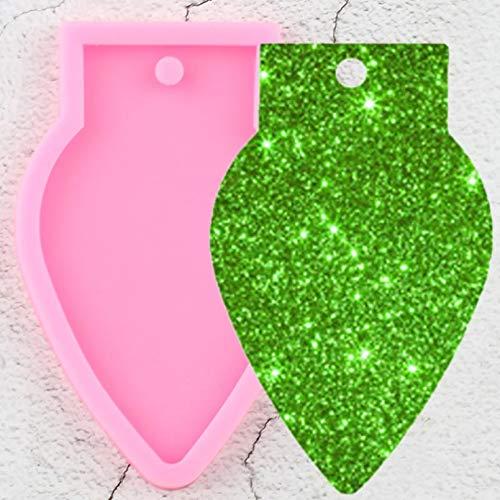 ZHQJY Molde de llaveros de luz navideña Brillante Molde de Resina de Silicona epoxi DIY Llavero Artesanal joyería Collar Colgante moldes de Arcilla polimérica