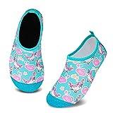HMIYA Zapatos De Natación Niño Niña Antideslizante Zapatos de Agua Secado RáPido Respirable Escarpines de Baño Descalzo Calcetines Aire Libre Piscina de Playa Surf(Unicornio Verde,22/23 EU)
