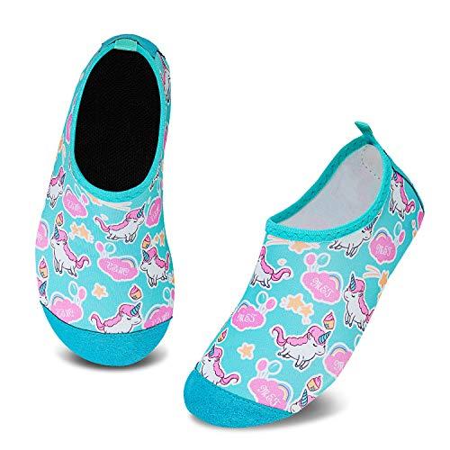 HMIYA Zapatos De Natación Niño Niña Antideslizante Zapatos de Agua Secado RáPido Respirable Escarpines de Baño Descalzo Calcetines Aire Libre Piscina de Playa Surf(Unicornio Verde,24/25 EU)