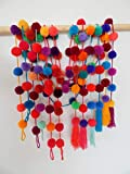 Azuleho - Mexican Curtain - Yarn Pom Pom Garland - 6 Assorted Pcs - Mexican Fiesta Party Decoration - Cinco de Mayo Decoration - Party Supplies - Home Décor Supplies