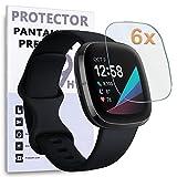 REY 6X Protector de Pantalla para Fitbit Sense - Fitbit Versa 3, Protección Premium (Pack de 6)
