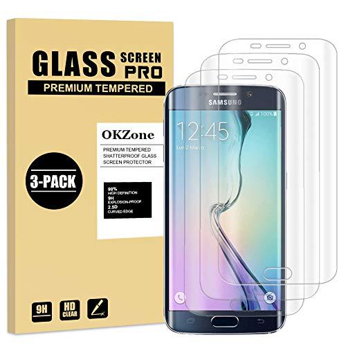 OKZone Protector de Pantalla Pare Samsung Galaxy S6 Edge Plus, [3 Unidades] Cristal Templado Vidrio Templado Protector de Pantalla con [2.5d Borde Redondo] [9H Dureza] [Alta Definicion]