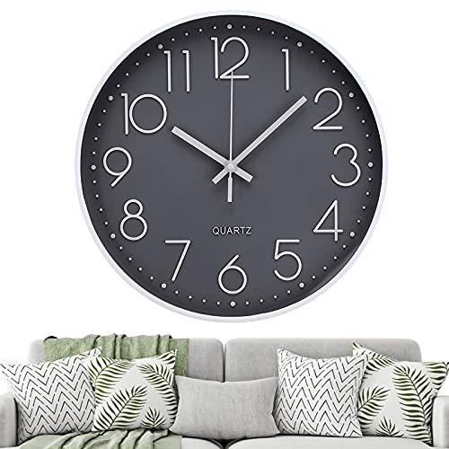 Jeteveven Reloj Pared de 12 Pulgadas,Reloj de Pared Circular y de Dial Silencioso, Grande y Fácil de Leer, Aecuado para Cocina, Sala de Estar, Dormitorio, Oficina y Estudio(Gris)