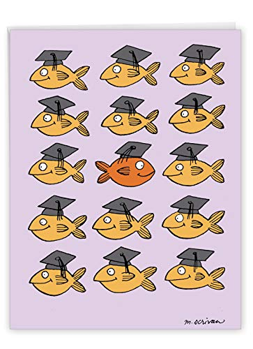 NobleWorks - Big Hilarious Graduation Card (8.5 x 11 Inch) - Funny Grad Notecard for College, High School Students - Stand Out in Crowd