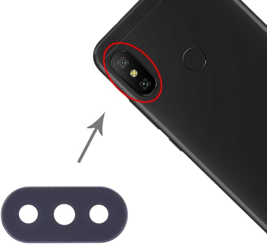 Compatible con Xiaomi Redmi 6 Pro (pantalla 5.84) Xiaomi Mi A2 Lite - Repuesto de cristal trasero de cristal para la lente + marco de la cámara trasera (negro)