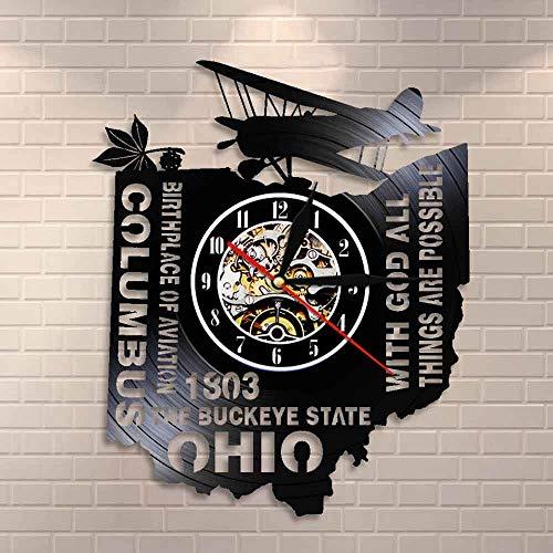BFMBCHDJ Mit Gott sind alle Dinge möglich Die Buckeye State Ohio Wanduhr Geburtsort der Luftfahrt Columbus Vinyl Record Wanduhr Uhr