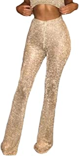 desolateness Womens Sexy Casual Sequin High Waist Pure Color Bell Bottom Pant