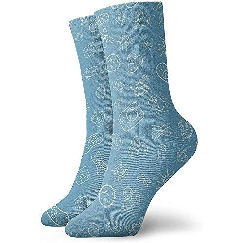 Kevin-Shop Heren Jurk Sokken Veel Bacteriën en Virussen Onder Microscoop Winter Warm Dik Gedrukt Casual Cozy Crew Sokken