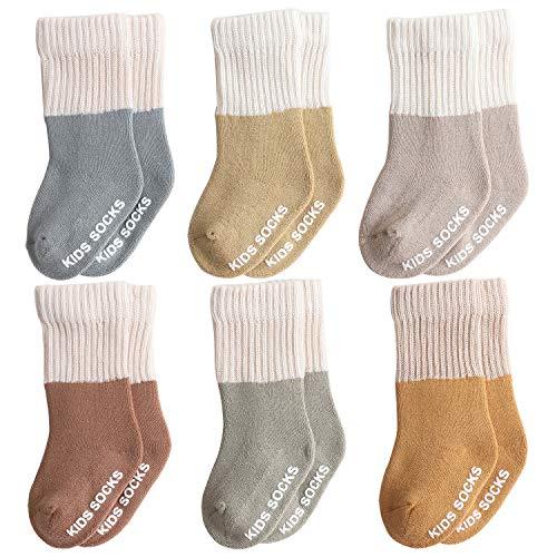 Belsmi Calcetines antideslizantes gruesos para bebé, para invierno, largos, hasta la rodilla, calcetines tubulares de algodón, pack de 6 unidades Estilo C 1-3 años (M)