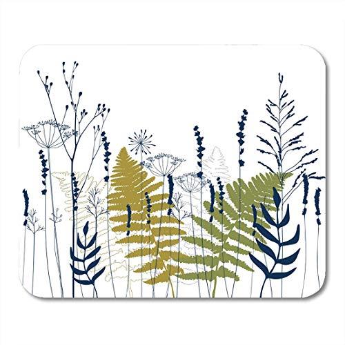 Muismat met bloemenpatroon, wit, met venkelbloesem, lavendel, wilde kruiden en varenblaadjes, fijne lijnen in blauw