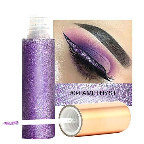 Glitter Liquid Eyeliner, pluma de larga duración resistente al agua para sombras de ojos Cosmetic Professional Glitter maquillaje metálico brillante(4)