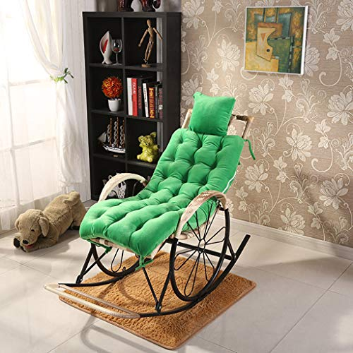 Cojín de felpa plegable de algodón para ocio, reclinable, silla de bambú Cojín de silla de ratán, cojín de silla mecedora, cómodas y transpirables: las sillas de 125x48 cm (49x18 pulgadas) no están