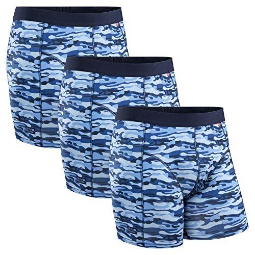 DANISH ENDURANCE Herren Sport Boxershorts, 3er Pack, Unterwäsche, Atmungsaktiv, Sportunterwäsche (Camouflage Blau, L)