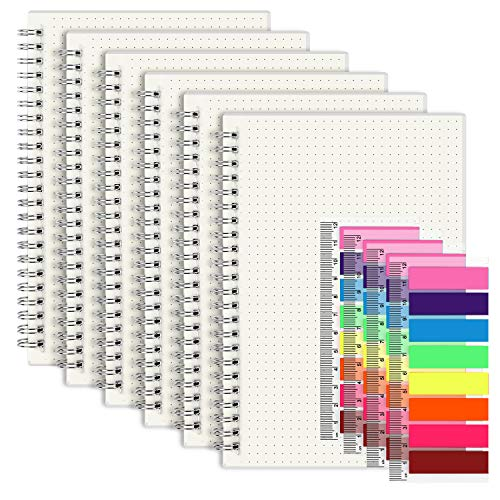 """A5 Dots Grid Spiral Notebook, 5.5""""x 8.5"""", 6 Pack Transparent Hardcover Journal with 4pcs Neon Color Page Markers"""