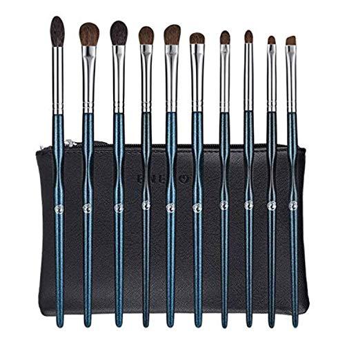 ENERGY Set di pennelli trucco occhi Set di pennelli trucco professionale 10 pezzi di Pennelli per Ombretti Eyeliner Pennelli da Sfumatura Pennello per Sopracciglia blu