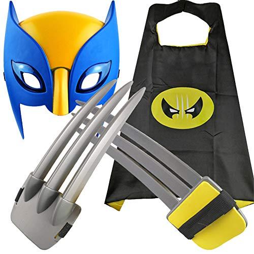 4 PCS Halloween X-Men Wolverine Cosplay, 1 Par De Garras De Wolverine + Capa + Mscara, Accesorios De Disfraces De Halloween, Regalos De Cumpleaos Para Nios, Para Hombres Mujeres Nio,1.51.75M