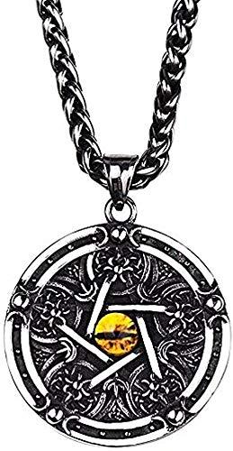 CCXXYANG Co.,ltd Collar Moda El Diablo De Los Ojos Collar para Hombres Pentagrama Colgante Grande Estilo Punk Vintage Collar Longitud 70 Cm Collar