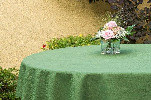 ODERTEX Garten-Tischdecke ABWASCHBAR mit Acryl und BLEIBAND, Form und Größe sowie Farbe wählbar, Maße: 130x180 cm Oval grün Oslo