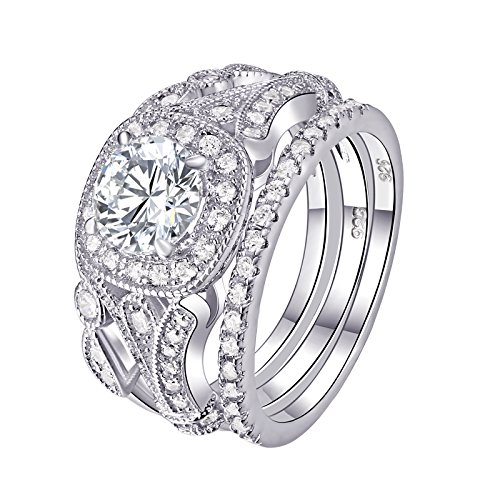 Newshe Wedding Rings for Women Engagement Set 925 Sterling Silver 2ct Round White AAA Cz Size 7