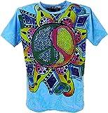 GURU-SHOP, Camiseta Espejo, Peace/Azul, Algodón, Tamaño:M, Camisetas Seguras