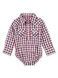 Wrangler Baby Boys' Long Sleeve Snap Bodysuit, Red/Blue, 6-9 Months