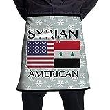 Bandera siria americana Barbacoa unisex Delantales cortos de cocina Monos sin mangas Portátil con bolsillo para cocinar, hornear, hacer manualidades, jardinería, barbacoa