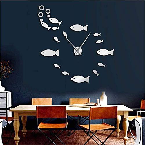 Djkaa wandklok, kleine vis, om zelf te maken, oceaan, dieren, exclusief zonder lijst, spiegel-effect, kinderen, slaapkamer, muur, kunst, decoratie, klok