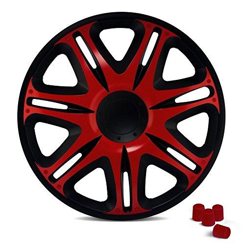 CM DESIGN Radkappen 15 Zoll NASCAR (Schwarz/Rot) passend für Fast alle Fahrzeuge inkl. 4 Ventilkappen!