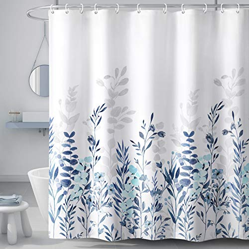 YellyHommy Plant Floral Shower Curtain for Bathroom Watercolor Teal and Blue Shower Curtain Set with 12 Hooks 72×72 (Inches)
