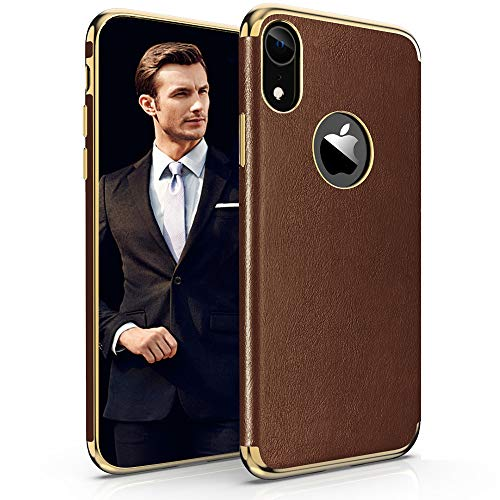 LOHASIC iPhone XR Case, Premium Leather Luxury Thin Slim Soft Flexible TPU Hybrid Bumper Non-Slip Grip Full Body Shockproof Protective Phone Cases Cover Compatible with iPhone XR (2018) 6.1inch -Brown