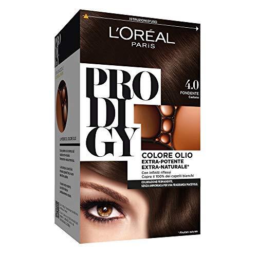 L'Oréal Paris Tinta Capelli Prodigy, Copertura Totale dei Capelli Bianchi, 4.0 Fondente Castano