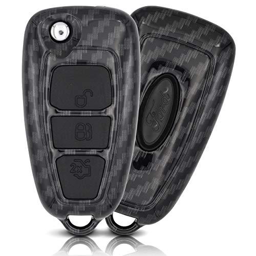 ASARAH Premium ABS Autoschlüssel Hülle kompatibel mit Ford - Edles Carbon Design mit Silikonschutz für Tasten - Carbon FD 3BKB