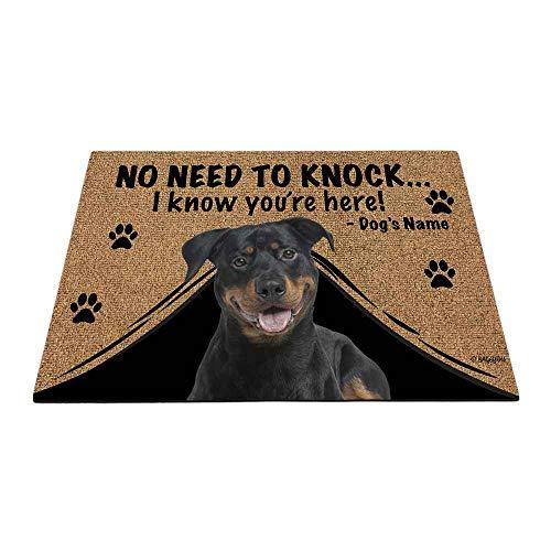 "BAGEYOU Felpudo personalizado con nombre de perro para exteriores con My Love Dog Rottweiler Welcome Floor Mat Not Need to Knock I Know You're Here 23.6"" x 15.7"""