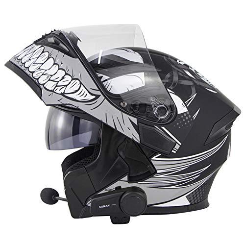 Casco Bluetooth para motocicleta, abatible hacia arriba, para carreras, casco de motocicleta, ciclomotor modular, cascos integrales para adultos con doble visera certificado por DOT (Gray,L(59-60cm))