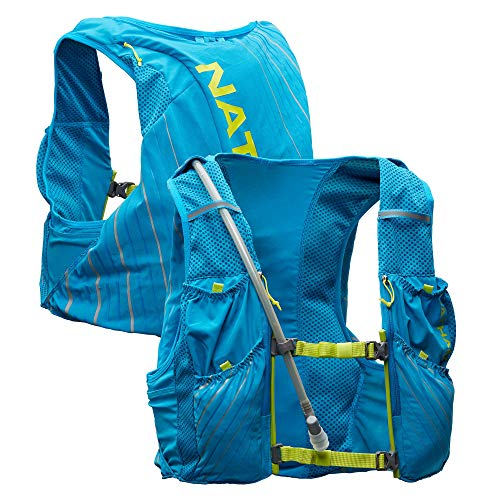 Nathan Pinnacle 12L Hydration Pack Running Vest with 1.6L Water Bladder Included. Hydration Backpack for Women/Men/Unisex. for Runs, Hiking, Cycling and More (Men's (Unisex) - Blue/Lime, L)