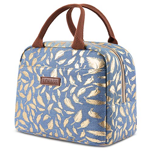 LOKASS Lunch Bag Cooler Bag Women Tote Bag Insulated Lunch Box Water-resistant Thermal Lunch Bag Soft Liner Lunch Bags for women/Picnic/Boating/Beach/Fishing/Work (Blue+Gold leaf)