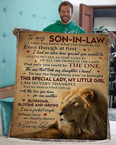 Personalized Lion to Son-in-Law Fleece Blanket from Mother-in-Law I Hope You Know What You Mean to Me Great Customized Blanket Gifts for Birthday, Sherpa Blanket Gifts for Graduation