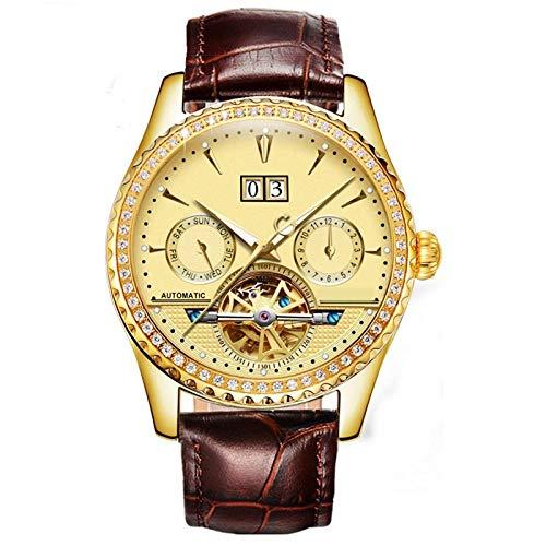 Smartwatches,Automatische Mechanische Uhr Hohle wasserdichte Mode Leuchtende Uhr, Lokale Goldgürtel