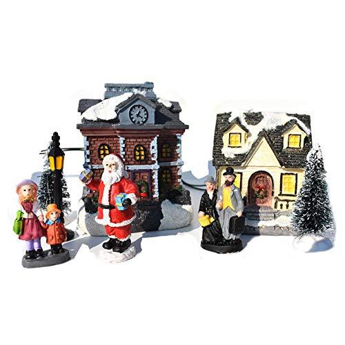 DIYANG 12pc Navidad escena conjunto miniatura luz LED mini pueblo resina muñeca estatuilla artificial árbol figuras ciudad