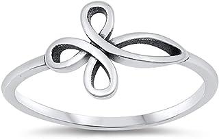 氧化无限十字结基督教戒指 925 纯银戒指 尺寸 4-10