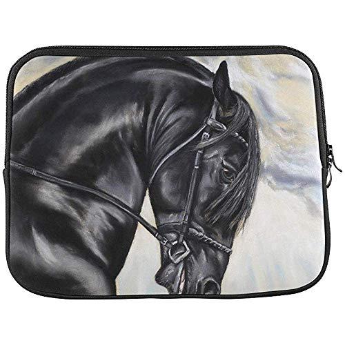 Tekening van een Fries Paard Gemaakt met Pastel Mouw Zachte Laptop Case Tas