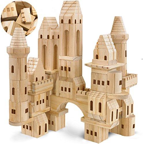 FAO Schwarz Medieval Knights & Princesses Wooden Castle Building Blocks, 75 Piece Set