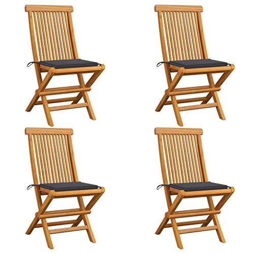vidaXL - 4 sillas de jardín de madera de teca con cojines, sillas de terraza, sillas de comedor, sillas de patio, balcón, exterior antracita