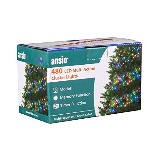 ANSIO Luces navideñas 480 LED 6 m Iluminación de árbol de racimo multicolor Cadena de luz interior Temporizador de almacenamiento Operación de red Longitud de iluminación Canal de 10 m Cable verde