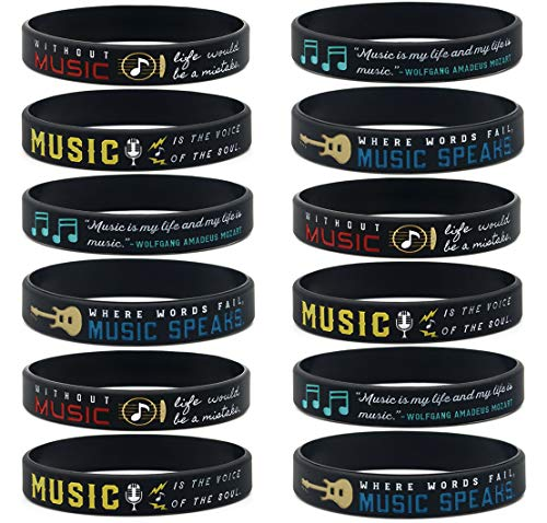(12-Pack) Music Inspirational Quote Bracelets - Bulk Pack of Wristbands for Music Event Party Favors Supplies - Bulk Gifts for Musicians Music Students
