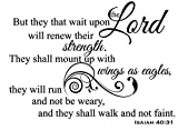 Newclew But They That Wait Upon The Lord Will Renew Their Strength. They Shall Mount up with Wings as Eagles They Will not be Weary - Isaiah 40:31 Removable Wall Sticker Décor Decal (22''W x 16''H)