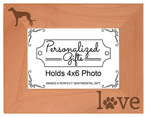 Greyhound Gifts Pet Paw Prints Dog Owner Love Natural Wood Engraved 4x6 Landscape Picture Frame Wood