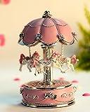 HoneyGifts Laxury Carousel Music Box, Flower Umbrella Design, Pink
