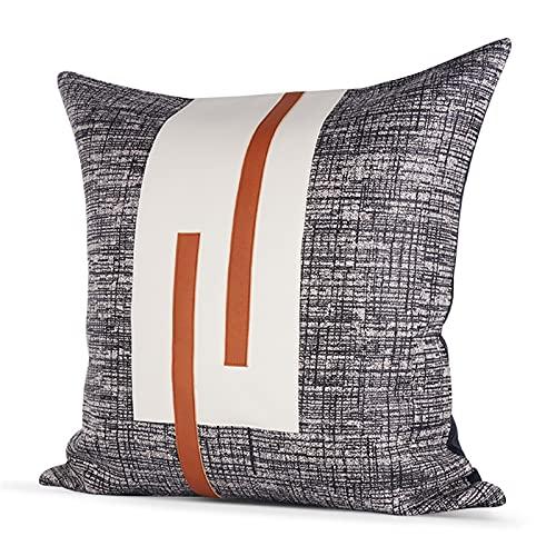 HOUMEL Cubiertas de Cojines Decorativos Gris Cajas de Almohada de Arte geométrico Blanco y Negro con Relleno para Sala de Estar sofá sofá 45 cm x 45 cm 18 x 18 Pulgadas 438