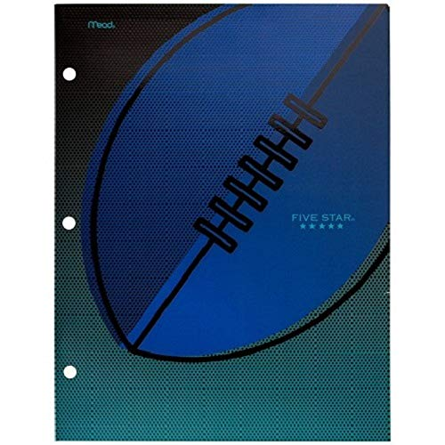 Sports Five Star 4 Pocket Paper Portfolio Folders (33161AZ9) - Basketball, Baseball, Football and Soccer (Football)